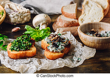 Two Bruschettas with Fresh Greens and Agaricus - Two Baked...