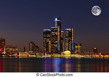 Moon rising over Detroit, Michigan - A Moon rising over...