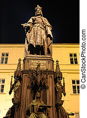 Emperor Charles Statue - Emperor Charles Bridge in Prague,...