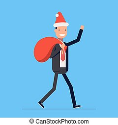 Businessman or manager dressed in a Santa Claus suit. Christmas hat and red sack with gifts. Vector, illustration EPS10.