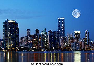 Rising moon over Miami, Florida