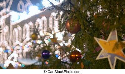 Bright Illumination on a christmas tree at city