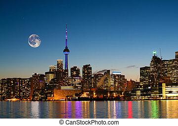 Rising moon over Toronto, Canada - A Rising moon over...