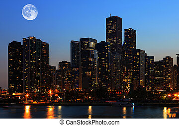 Moon rising over Chicago, Illinois