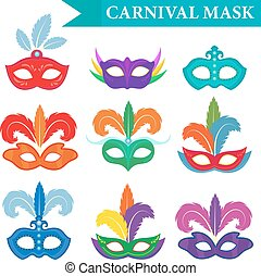 Masquerade mask set, flat style. Carnival collection...