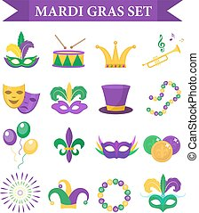 Mardi Gras carnival set icons, design element , flat style. Collection, mask with feathers, beads, joker, fleur de lis, comedy and tragedy, party decorations. Vector illustration, clip art