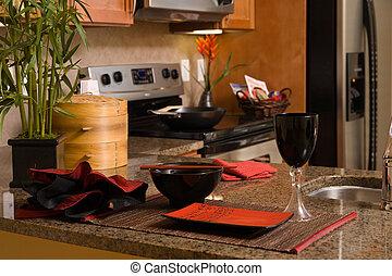 pequeño, moderno, cocina, asiático, decoración