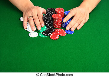 betting it all - Player pushing casino chips into the pot...