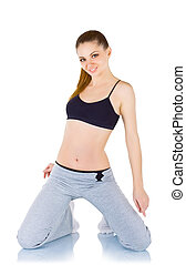 Young woman doing fitness exercises, isolated on white...