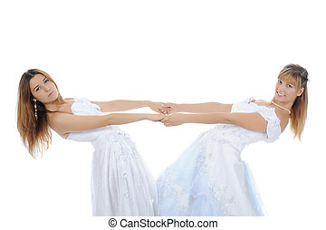 Two beauti bride Isolated on white background