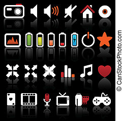 Set of vector multimedia web buttons, icons. Audio, video....