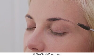 4 shots. Professional make-up artist combing and plucking eyebrows of client