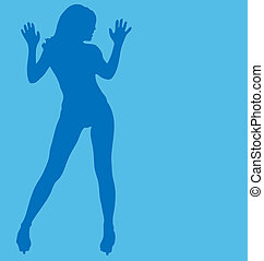Vector sexy female silhouette.