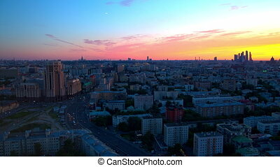 Sunset over the city from a height, Moscow.