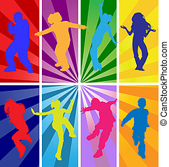 Vector silhouettes of jumping kids - Vector silhouettes of...