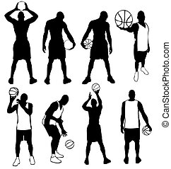 Set of vector basketball players
