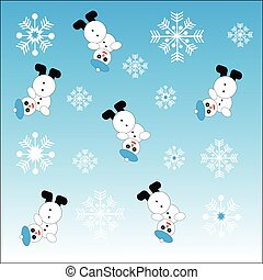 Snowmans and snowflakes on blue background. Vector...