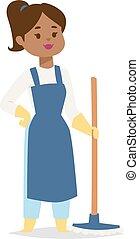 Housewife girl illustration. - Housewife girl homemaker...