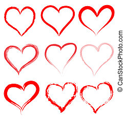 Collection of red artistic hearts - Collection of red...