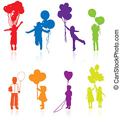 Colored reflecting silhouettes of playing, jumping children...