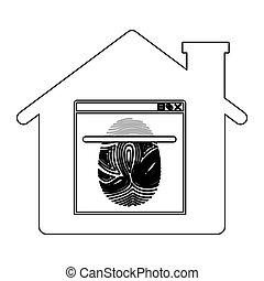 Isolated fingerprint and house design - Fingerprint and...