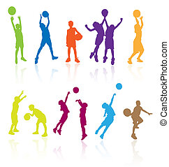 Silhouettes of children jumping and playing basketball with...