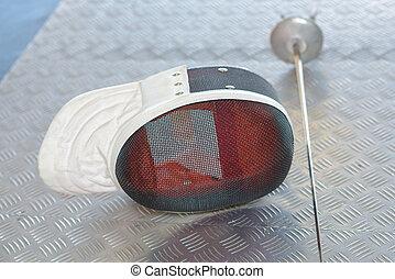 Fencing visor and foil