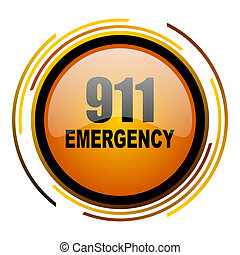 number emergency 911 round design orange glossy web icon