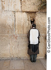 Jew praying at the Western Wall, religion and culture,...