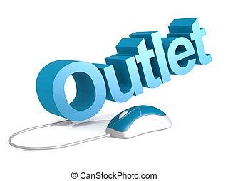 Outlet word with blue mouse