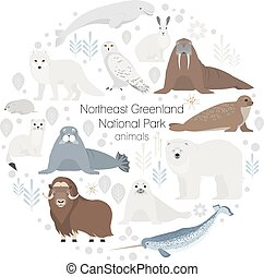 Polar animals. Vector circle animal set. Polar bear,narwal,...