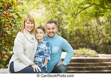 Mixed Race Hispanic and Caucasian Family Portrait at the Park