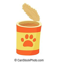 Dog can icon, cartoon style - Dog can icon. Cartoon...