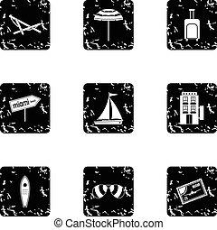 City Miami icons set, grunge style - City Miami icons set....