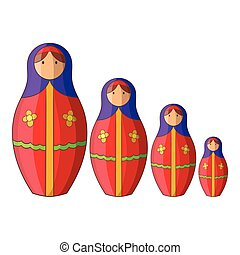 Russian tradition doll icon, cartoon style