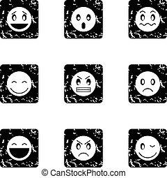 Round smileys icons set, grunge style
