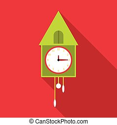 Old wall clock icon, flat style - Old wall clock icon. Flat...