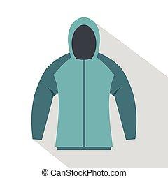 Sweatshirt icon, flat style - Sweatshirt icon. Flat...