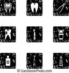 Teeth icons set, grunge style