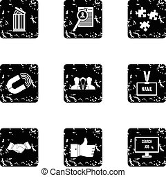 Team icons set, grunge style - Team icons set. Grunge...