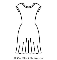 Woman dress icon, outline style - Woman dress icon. Outline...