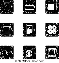 Printing in polygraphy icons set, grunge style - Printing in...