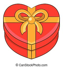 Gift box icon, cartoon style