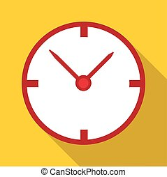 White wall clock icon, flat style - White wall clock icon....