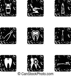 Dental clinic icons set, grunge style