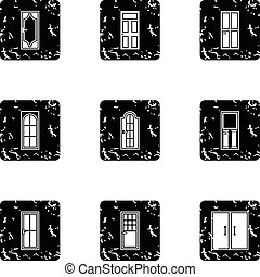 Types of doors icons set, grunge style - Types of doors...