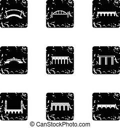 Types of bridges icons set, grunge style