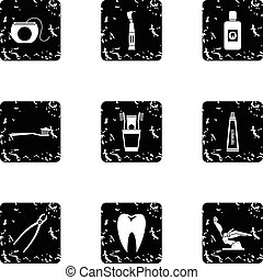 Dentistry icons set, grunge style - Dentistry icons set....