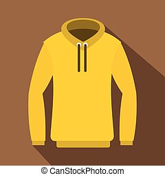 Hoody icon, flat style - Hoody icon. Flat illustration of...