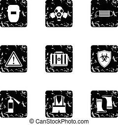 Repairs icons set, grunge style - Repairs icons set. Grunge...
